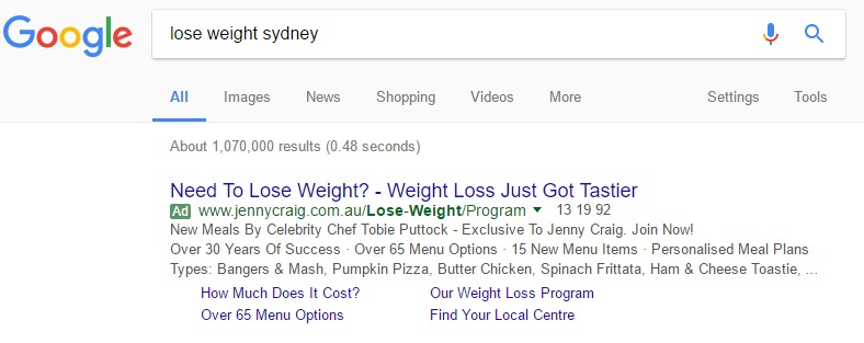 PPC Ads headlines in Google Search in Sydney