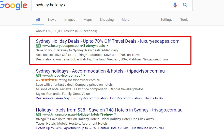PPC ads headlines in Sydney Google Search