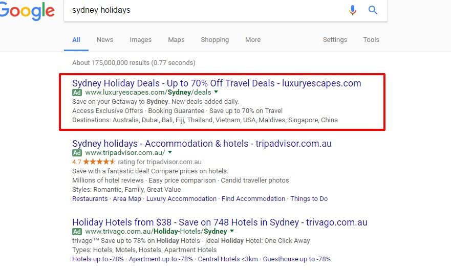 PPC ads headlines in Sydney Google Search